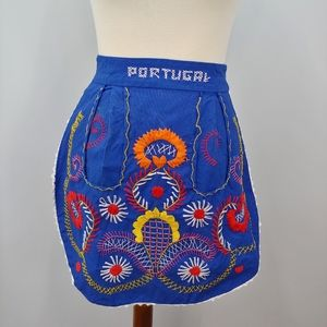 Embroidered Reversible Half Apron, Blue, Portugal